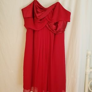 David bridal red strapless dress size 22